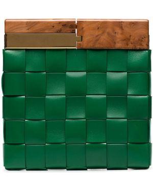 Torba sprzęgło skórzany zielony Bottega Veneta