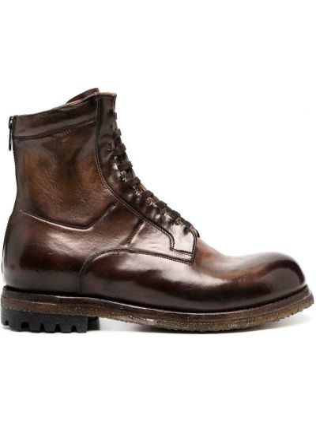 Кожаные коричневые ботинки на каблуке на молнии на каблуке Silvano Sassetti