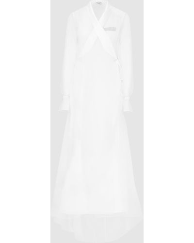 Шелковое белое платье макси Brunello Cucinelli