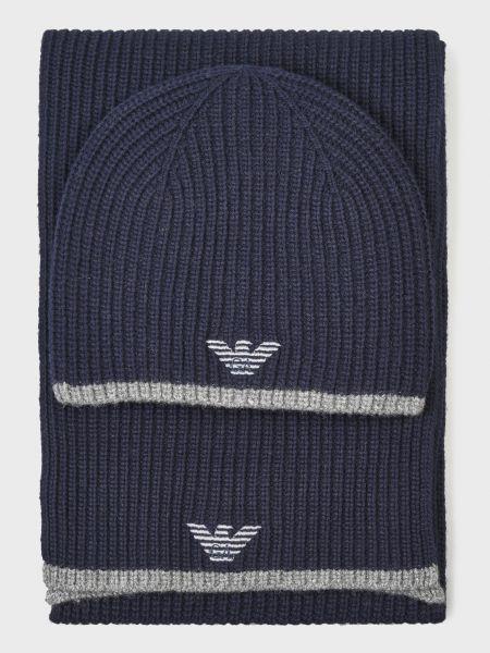 Синяя кашемировая шапка Emporio Armani