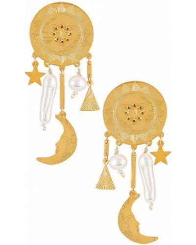 Złote kolczyki sztyfty perły pozłacane Mercedes Salazar