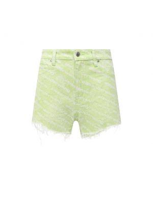 Джинсовые шорты с бахромой - зеленые Denim X Alexander Wang
