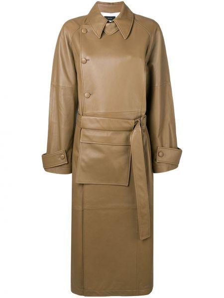 Кожаное с рукавами коричневое кожаное пальто с поясом Joseph
