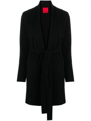 Прямое черное шерстяное длинное пальто в рубчик Cashmere In Love