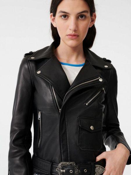 Кожаная куртка черная весенняя Maje