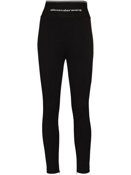 Spodni czarny z wysokim stanem spodnie z wiskozy Alexander Wang