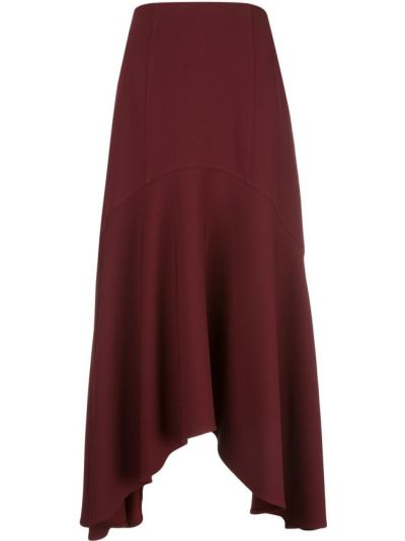 Хлопковая красная асимметричная с завышенной талией юбка миди Jason Wu
