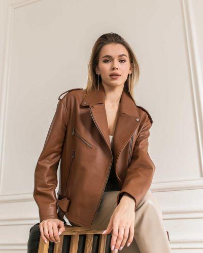 Кожаная куртка - коричневая без бренда