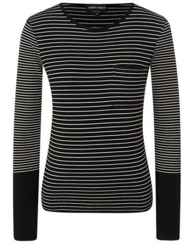 Трикотажный черный пуловер круглый Giorgio Armani