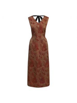 Льняное коричневое платье с поясом Uma Wang