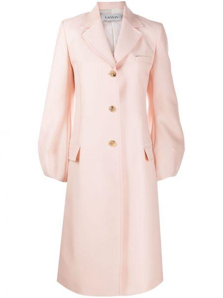 Розовое шерстяное пальто классическое с воротником Lanvin