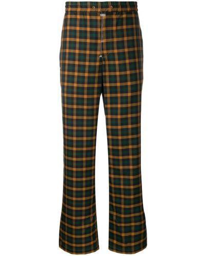 Коричневые прямые брюки с поясом новогодние Wwwm