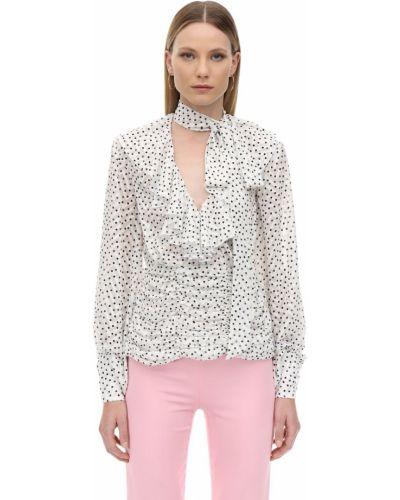 Biała koszula w grochy z szyfonu Marianna Senchina