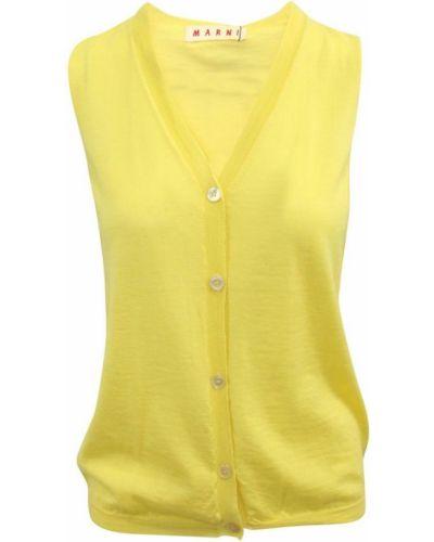 Z kaszmiru żółta kamizelka Marni Vintage