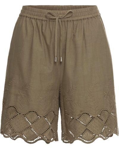 Оливковые летние брюки с поясом с короткими рукавами с декоративной отделкой Bonprix