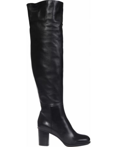 Ботфорты на каблуке кожаные черные Loriblu