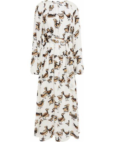 Шелковое белое платье миди с декольте SamsØe Φ SamsØe