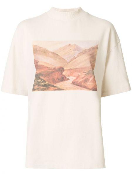 Хлопковая прямая футболка с круглым вырезом с короткими рукавами Goen.j