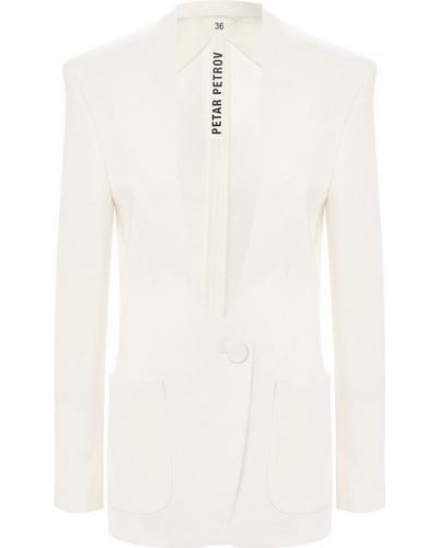 Белый пиджак с подкладкой с воротником Petar Petrov