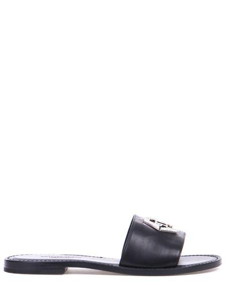 Шлепанцы кожаные черные Philipp Plein