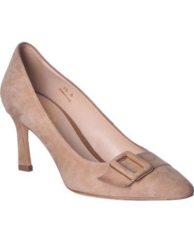 Бежевые замшевые туфли Tod's