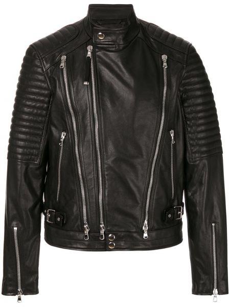Czarna długa kurtka skórzana z długimi rękawami Diesel Black Gold