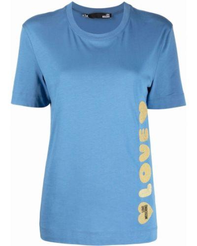 Синяя трикотажная футболка Love Moschino