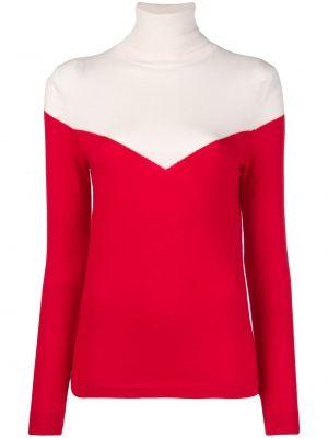 Шерстяной красный свитер в рубчик с длинными рукавами Cashmere In Love