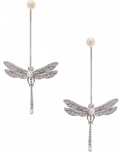 Серьги с жемчугом с топазом удлиненные Axenoff Jewellery
