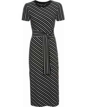 Платье миди с поясом с рукавами Bonprix