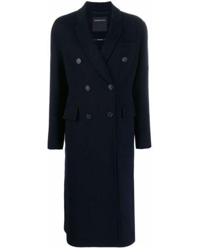 Синее длинное пальто с капюшоном на пуговицах Sport Max Code