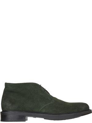 Кожаные ботинки - зеленые Santoni