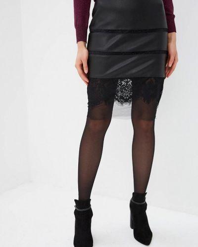 Кожаная юбка весенняя черная Love Republic