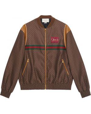 Brązowa długa kurtka skórzana z haftem Gucci