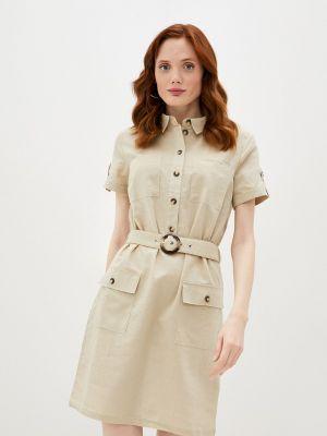 Бежевое платье рубашка Zolla