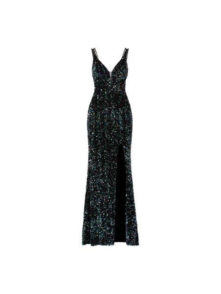 Czarna sukienka wieczorowa z cekinami z dekoltem w serek Mascara