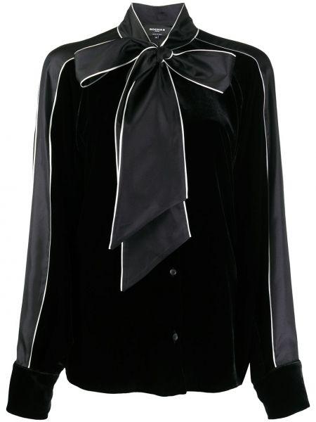 Шелковая черная блузка с бантом Rochas