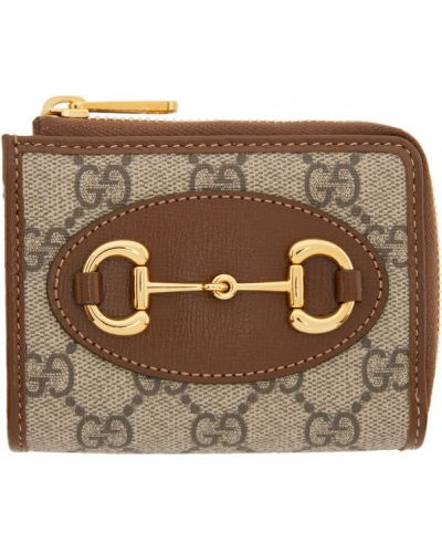 Brązowy skórzany portfel z gniazdem z łatami Gucci