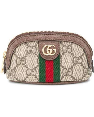 Brezentowy brązowy etui na klucze Gucci