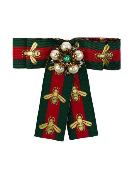 Zielona złota broszka perły Gucci