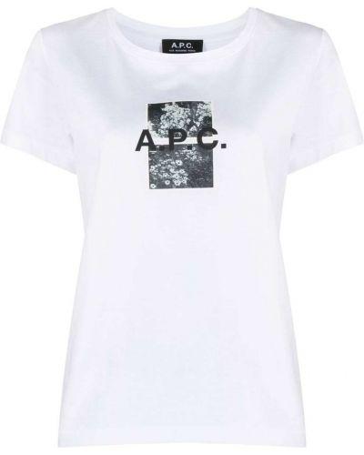 Прямая хлопковая белая футболка A.p.c.