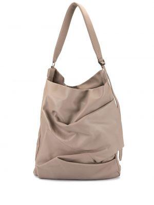 Кожаная коричневая сумка-тоут на молнии Discord Yohji Yamamoto