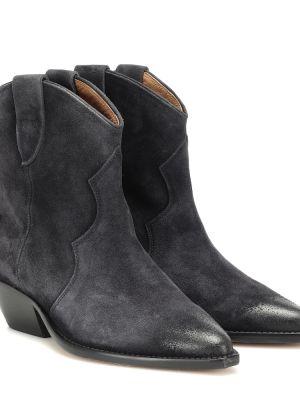Kowboj buty zamszowe czarne Isabel Marant