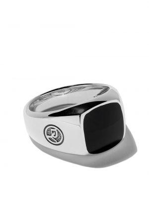 Кольцо с ониксом - серебряное David Yurman