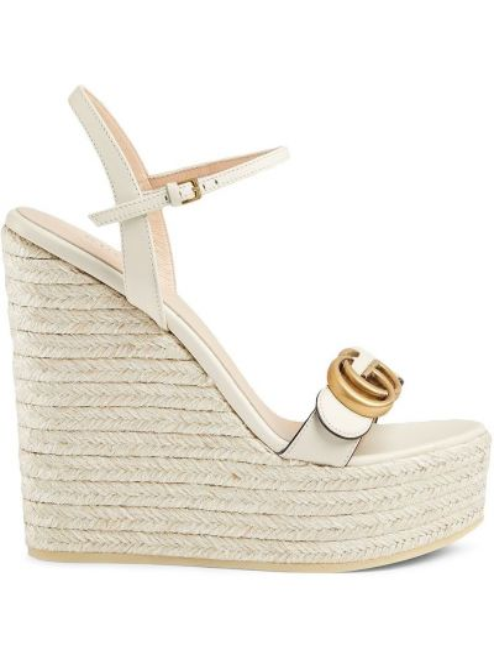 Sandały na koturnie skorzane na obcasie Gucci