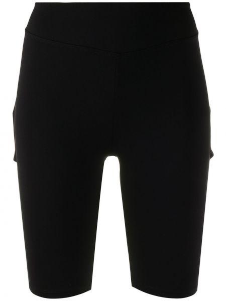 Однобортные нейлоновые черные облегающие шорты Sàpopa
