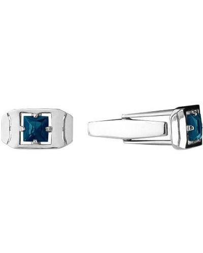 Запонки из серебра синий Aquamarine