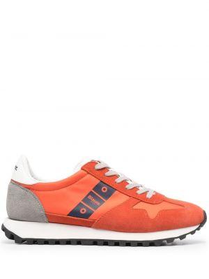 Оранжевые кожаные кроссовки на шнурках Blauer