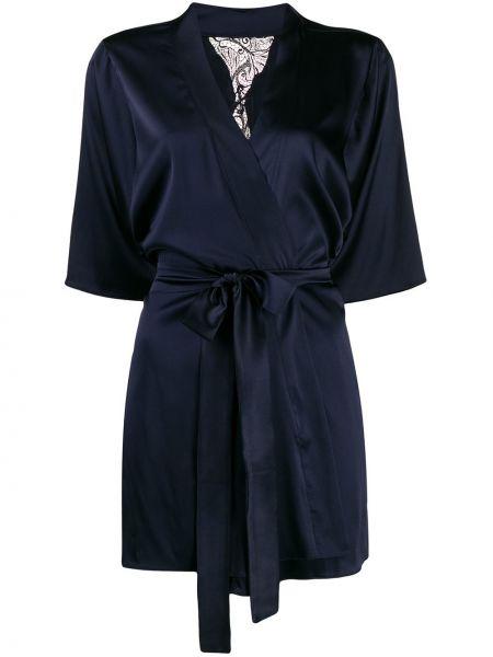 С рукавами шелковый синий халат свободного кроя Fleur Of England
