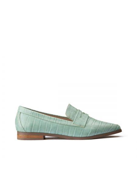 Зеленые кожаные мокасины с подкладкой на каблуке La Redoute